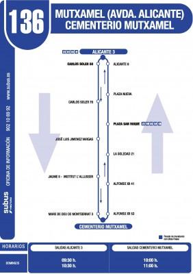 Recorrido y horarios línea 136 bus Mutxamel