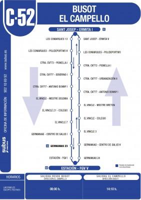 Recorrido y horarios línea C 52 bus Alicante