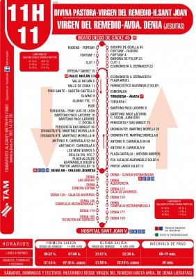 Recorrido y horarios línea 11 y 11H bus Alicante