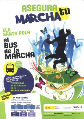 Bus de la marcha en Santa Pola