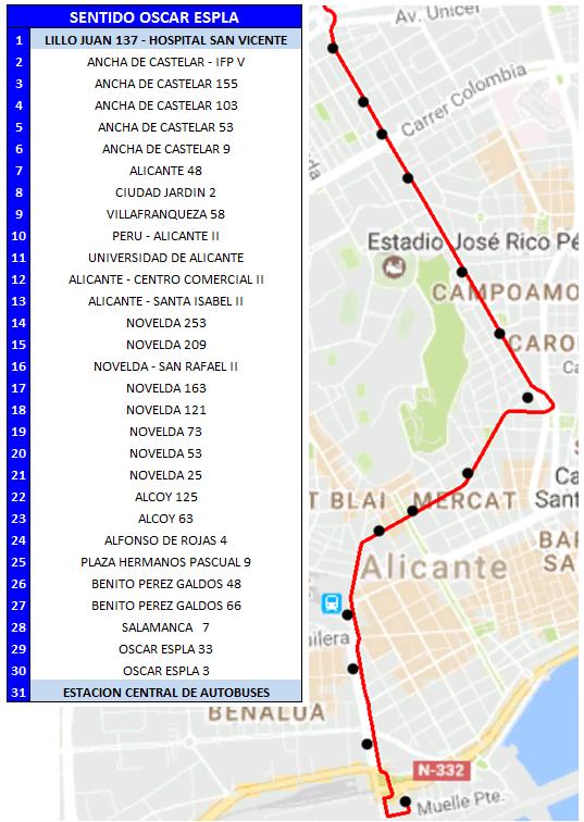 24 Sentido Estacion Autobuses (desvio hogueras)