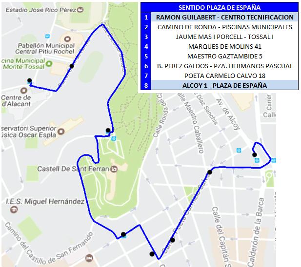39 Sentido Plaza de España (desvio hogueras)