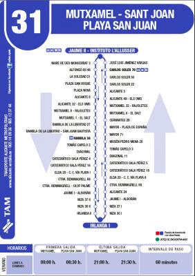 Recorrido y horarios línea 31 bus Alicante