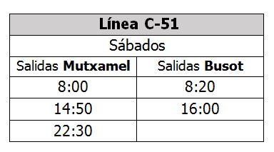 LC51 horario sábados verano 2018