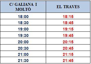 U-1 Horario especial Sant Joan