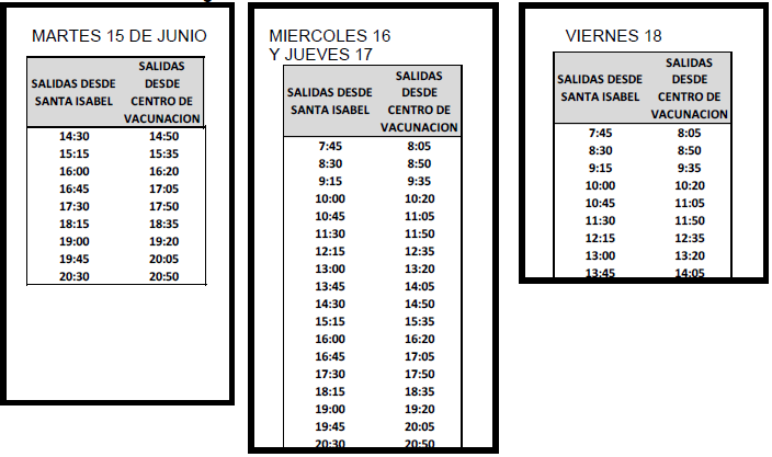 Horario Vacunacion 15-18 junio